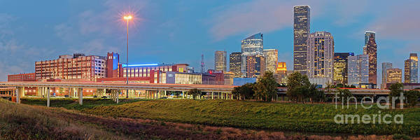 Wall Art - Photograph - Twilight Panorama Of Downtown Houston Skyline And University Of Houston - Harris County Texas by Silvio Ligutti
