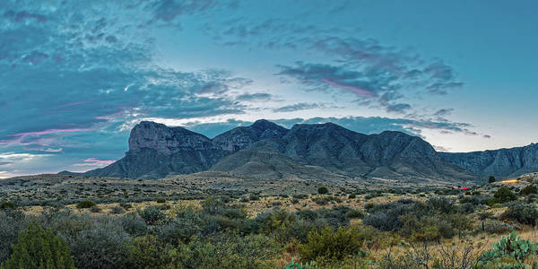 Photograph - Twilight Panorama Of El Capitan And Guadalupe Mountains - Culberson County West Texas by Silvio Ligutti