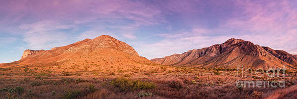 Photograph - Twilight Panorama Of Guadalupe Mountains And Pine Springs Canyon - West Texas Culberson County by Silvio Ligutti