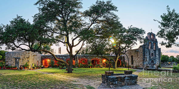 Wall Art - Photograph - Twilight Panorama Of Mission Espada - San Antonio Missions National Historical Park - Texas by Silvio Ligutti
