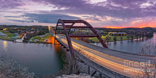 Photograph - Twilight Panorama Of Pennybacker Bridge 360 Over Lake Austin - Texas Hill Country by Silvio Ligutti