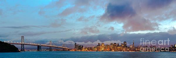 Twilight Panorama Of San Francisco Skyline And Bay Area Bridge From Treasure Island - California Art Print