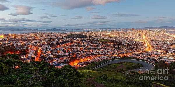 Wall Art - Photograph - Twilight Panorama Of San Francisco Skyline And Bay Area From Twin Peaks Overlook - California by Silvio Ligutti