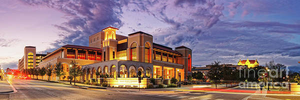 Photograph - Twilight Panorama Of Texas State University Performing Arts Center - San Marcos Texas Hill Country by Silvio Ligutti