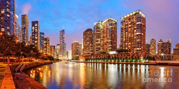 Chicago Tribune Wall Art - Photograph - Twilight Panorama Of The Chicago River From Lake Shore Drive - Chicago Riverwalk Illinois by Silvio Ligutti