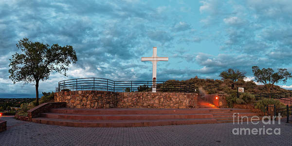 Photograph - Twilight Panorama Of The Cross Of The Martyrs At Fort Marcy - Santa Fe New Mexico  by Silvio Ligutti