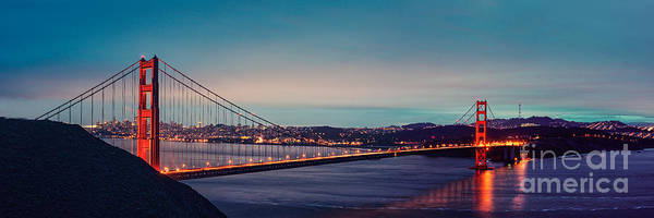 Photograph - Twilight Panorama Of The Golden Gate Bridge From The Marin Headlands - San Francisco California by Silvio Ligutti