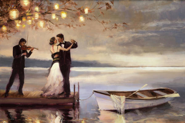 Boats Wall Art - Painting - Twilight Romance by Steve Henderson