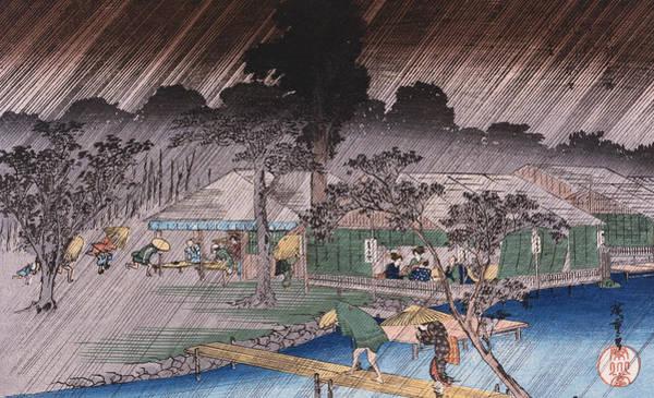 Wall Art - Painting - Twilight Shower At Tadasu Bank by Hiroshige