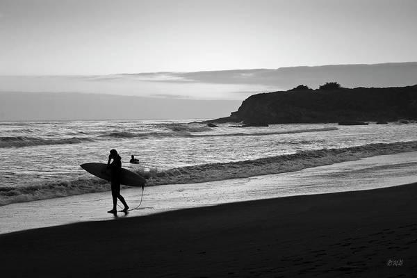 Photograph - Twilight Surfers Bw by David Gordon