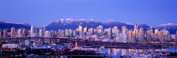 False Creek Wall Art - Photograph - Twilight, Vancouver Skyline, British by Panoramic Images