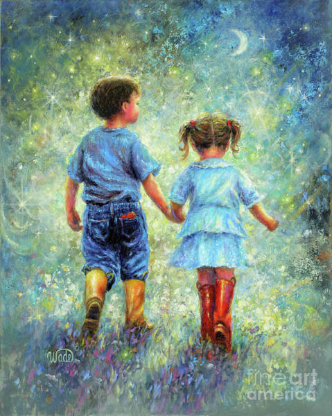 Wall Art - Painting - Twilight Walk Boy And Girl by Vickie Wade