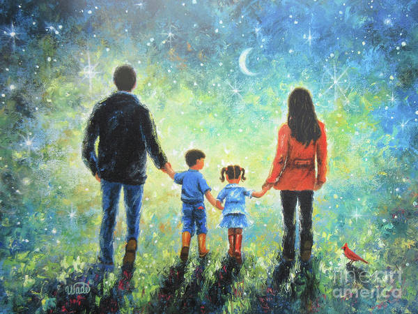Wall Art - Painting - Twilight Walk With Mom And Dad Brunettes by Vickie Wade