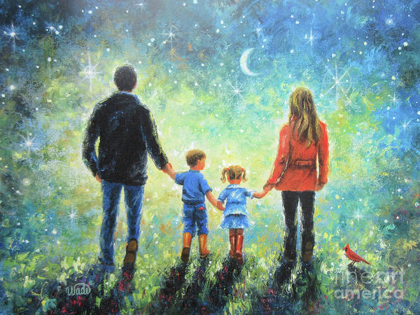 Father Sky Wall Art - Painting - Twilight Walk With Mom And Dad by Vickie Wade