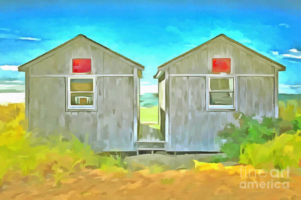 Twins Painting - Twin Cottages Craigsville Beach Cape Cod by Edward Fielding