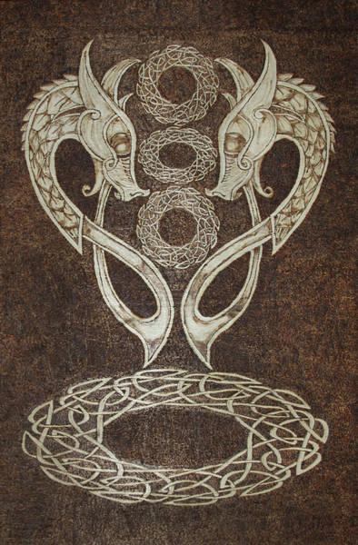 Pyrography - Twin Dragons by David Yocum