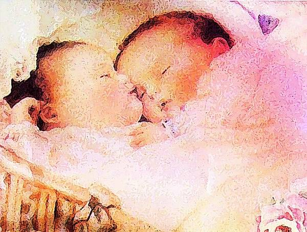 Pregnancy Mixed Media - Twin Dreaming by Tammera Malicki-Wong