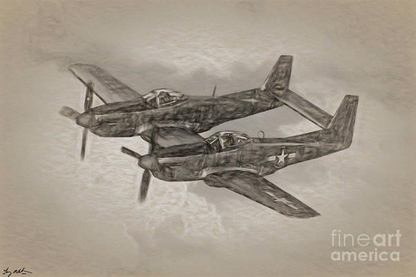 Wall Art - Digital Art - Twin Mustang Sketch by Tommy Anderson