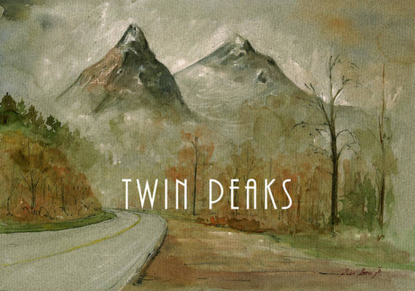 Twins Painting - Twin Peaks Poster Painting by Juan  Bosco