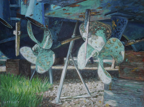 Painting - Twin Propellers On Blue Boat by Martin Davey
