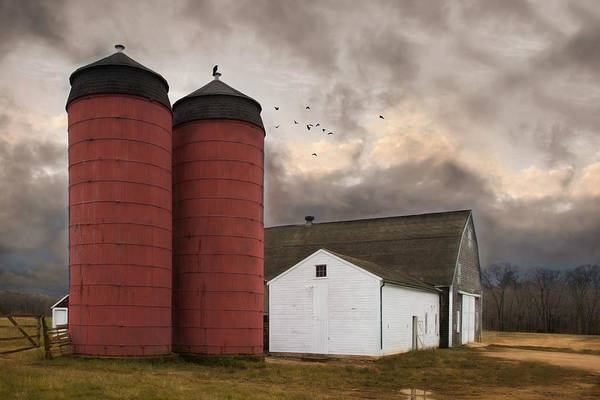 Red Robin Photograph - Twin Silos by Robin-Lee Vieira