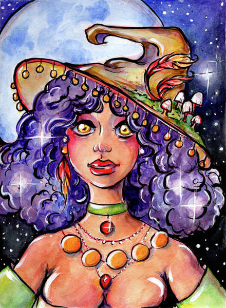 Mixed Media - Twinkle Witch by Nada Meeks