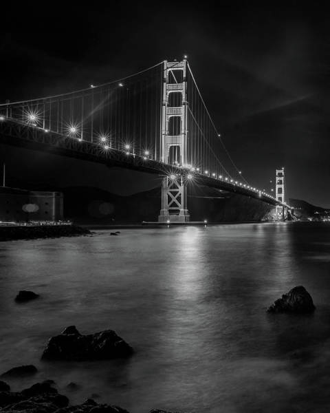 Wall Art - Photograph - Twinkling Golden Gate Bridge Black And White by Bridget Calip