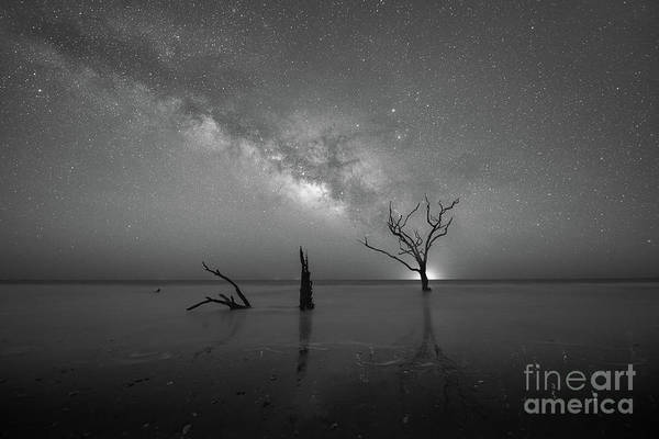 Wall Art - Photograph - Twinkling Stars Reflecting  Bw by Michael Ver Sprill