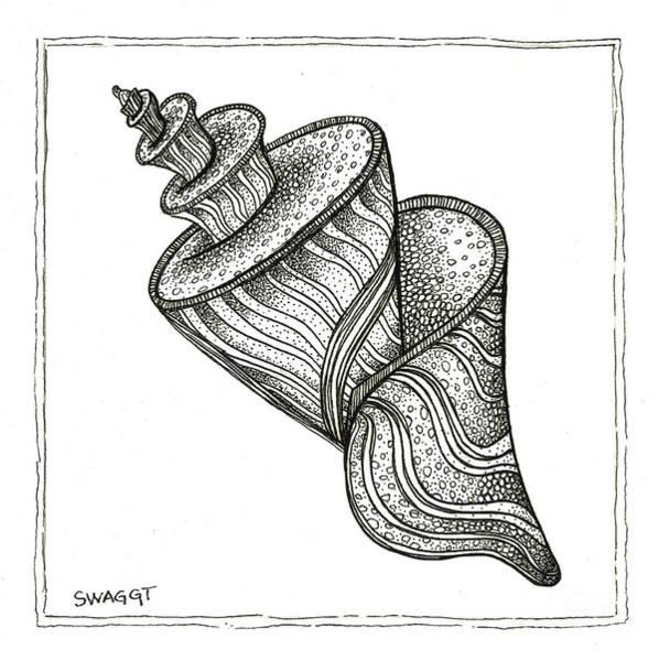Beach Life Wall Art - Drawing - Twirly Shell by Stephanie Troxell
