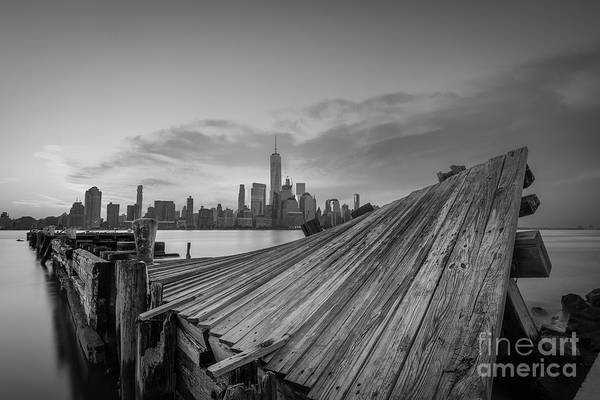 Lower Manhattan Photograph - Twisted Pier Manhattan Sunrise Bw by Michael Ver Sprill