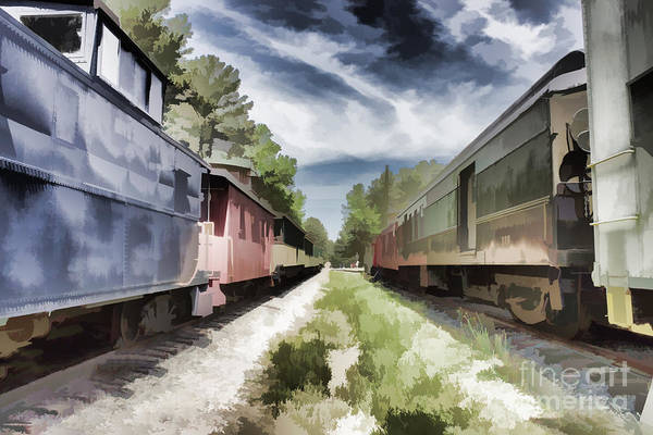 Twixt The Trains Art Print