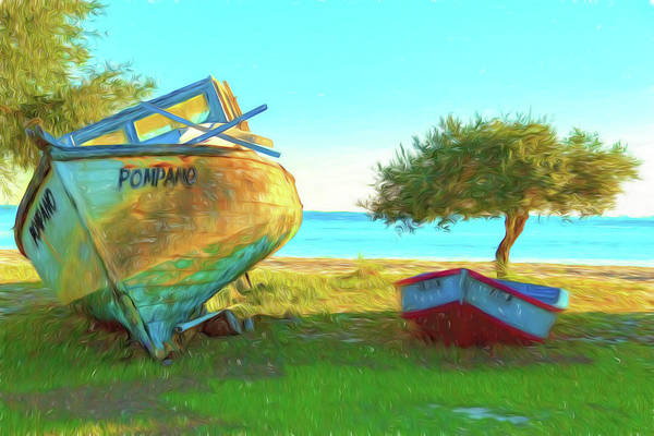 Choctawhatchee Bay Photograph - Two Abandoned Boats On Choctawhatchee Bay by Kay Brewer