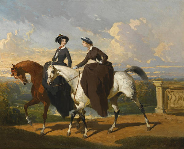 Wall Art - Painting - Two Amazons On Horses by Alfred de Dreux