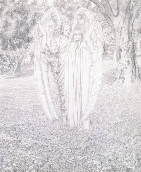 2 Drawing - Two Angels, 1904  by Carlos Schwabe