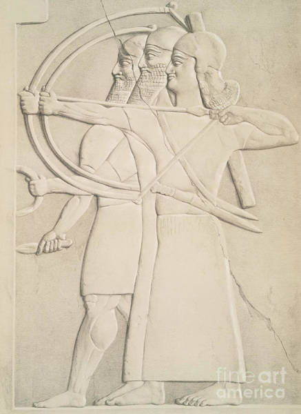 Wall Art - Drawing - Two Archers And A Shield Bearer, by Austen Henry Layard