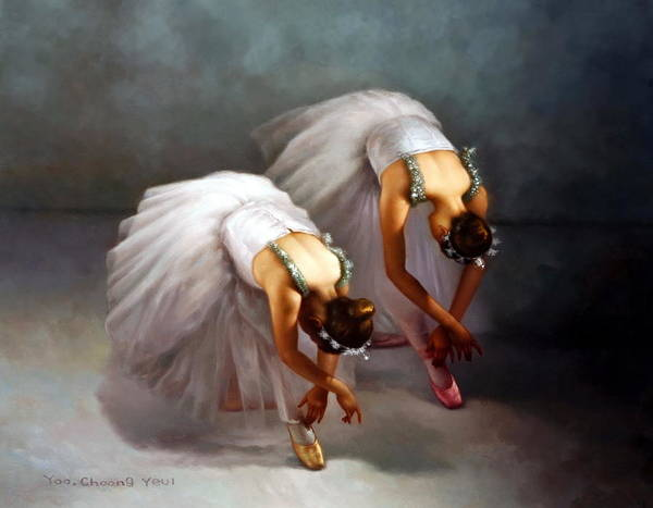 Wall Art - Painting - Two Ballerinas by Yoo Choong Yeul
