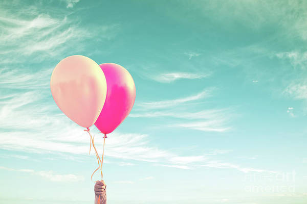 Happiness Photograph - Two Balloons by Delphimages Photo Creations