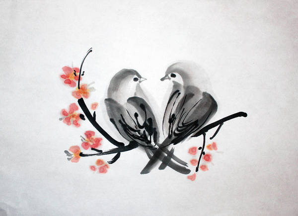Painting - Two Birds by Fumiyo Yoshikawa