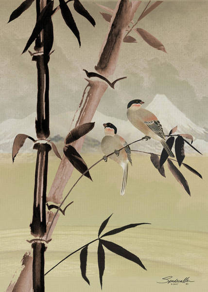 Bamboo Digital Art - Two Birds In Bamboo Tree by M Spadecaller