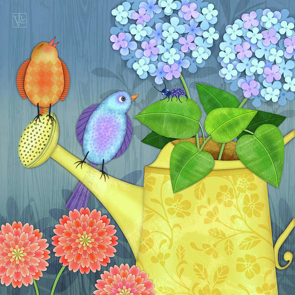 Wall Art - Digital Art - Two Birds On A Watering Can by Valerie Drake Lesiak
