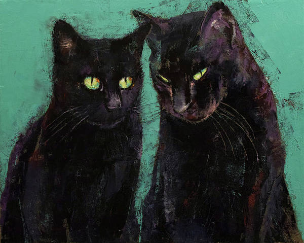 Wall Art - Painting - Two Black Cats by Michael Creese