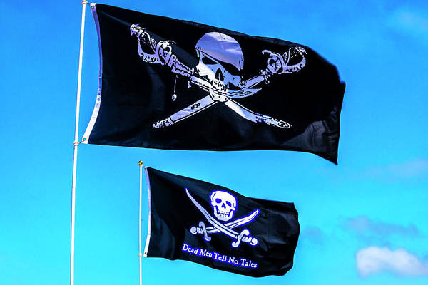 Wall Art - Photograph - Two Black Pirate Flags by Garry Gay