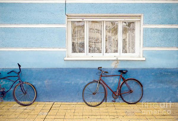 Photograph - Two Blue Bikes by Craig J Satterlee