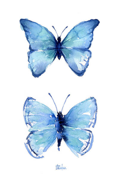 Blue Butterfly Wall Art - Painting - Two Blue Butterflies Watercolor by Olga Shvartsur