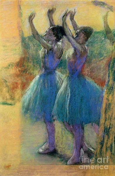 1834 Wall Art - Pastel - Two Blue Dancers by Edgar Degas
