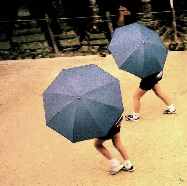 Photograph - Two Blue Umbrellas by Wayne King