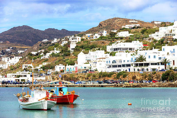 Photograph - Two Boats At The Mykonos Old Port by John Rizzuto