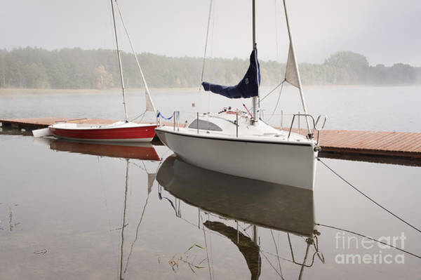 Wall Art - Photograph - Two Boats Moored To Boardwalk by Arletta Cwalina