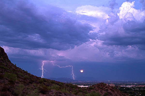 Shelf Cloud Photograph - Two Bolts And The Moon by Cathy Franklin