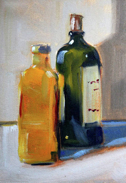 Wall Art - Painting - Two Bottles by Nancy Merkle